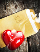 Valentine Card with Letter and Aromatic Candle — Stock fotografie
