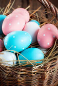 Close up Easter Eggs in the Basket — Stock Photo