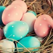 Close up of Easter Eggs Painted with Pink, Blue — Stock Photo