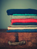 Knitted Color Clothes in stack — Stock Photo