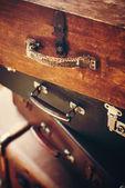 Antique handles of vintage suitcases — Stock Photo