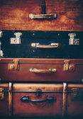 Old Antique Vintage Trunks in a Stack — Stock Photo