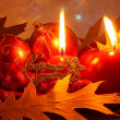 Stock Photo: Christmas Candle Card - Red Xmas Decoration