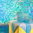 Foto de Stock  : Gift Box - Birthday Blue Blur Card - Stock Photo
