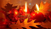 Christmas Candle Card - Red Xmas Decoration — ストック写真