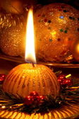 Christmas Candle Card - Stock Photo — Stockfoto