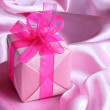 Royalty-Free Stock Photo: Pink Gift : Valentines or  Mothers Day Card - Stock Photo