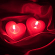 Romantic Valentines card : heart candles - Stock Photo — Stock Photo
