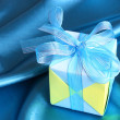 Blue Gift - Valentines Day Card - Stock Photo — Stock Photo