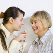 Two women gossiping — Stock Photo