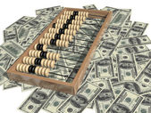 Abacus and money — Stock Photo