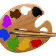 Palette, paints and brushes — Stock Photo