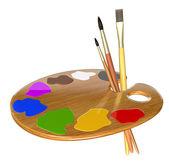 Paleta, barvy a štětce — Stock fotografie