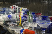 Sale of crystal products by the roadside — Stock Photo