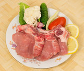 Semi-finished pork chop carbonate with ribs — Stock Photo