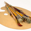 Artist's brush and palette for painting — Foto Stock