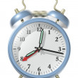Foto Stock: Blue alarm clock ringing.