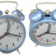 Blue alarm clock - angle 3 and 4 — Stock Photo