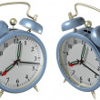 Blue alarm clock - angle 1 and 2 — Stock Photo
