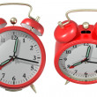 Stock Photo: Red alarm clock - angle 3 and 4. 3d render