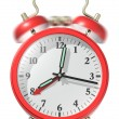 Stock Photo: Red alarm clock ringing.