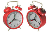 Red alarm clock - angle 1 and 2. 3d render — Stock Photo