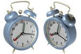 Blue alarm clock - angle 1 and 2 — Stock Photo