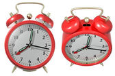 Red alarm clock - angle 3 and 4. 3d render — 图库照片