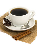 Cup of coffee, chocolate and cinnamon — Stock Photo
