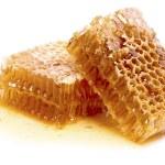 восковые соты с медом, изолированные на белом фоне — Стоковое фото #50427525