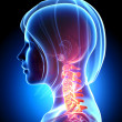 Female neck pain in blue - Stock Photo