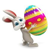 Bunny with big egg — Stock Photo