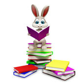 Bunny is reading a book — Stock Photo