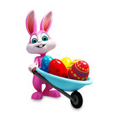 Bunny with eggs trolley — Stock Photo