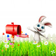 Happy enjoying bunny and mailbox - Stock Photo