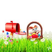 счастливый кролик наслаждаясь и почтовый ящик — Стоковое фото