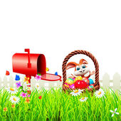 Happy enjoying bunny and mailbox — Stock Photo