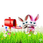 Happy enjoying bunnies and mailbox — Stock Photo