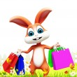 Bunny with shopping bags - Stock Photo