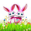 Happy easter bunnies - Stock Photo