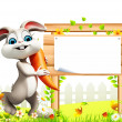 Happy  bunny with poster - Stock Photo
