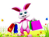 Bunny with shopping bags — Stock Photo