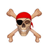 Skull covered with red scarf — Stock Photo
