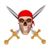 Two sword in apposite direction with skull — Stock Photo