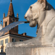 Stock Photo: Lion and bell tower