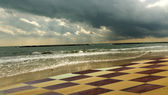 Chessboard on the beach — Stock Photo