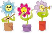 Singing flowers — Stock Vector