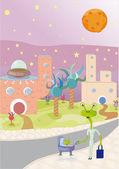 Alien planet — Stock Vector