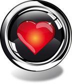 Przycisk web serca — Zdjęcie stockowe