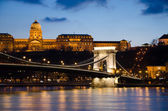View of the Budapest Chain Bridge at Night. — Stock Photo
